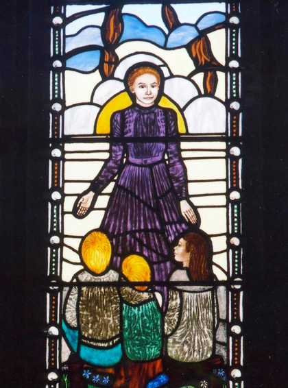 Stained glass window at All Saints Catholic Church